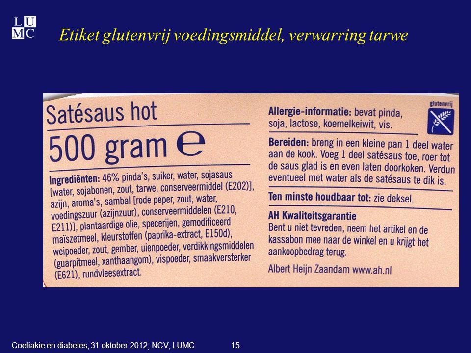 Etiket glutenvrij voedingsmiddel, verwarring tarwe 15Coeliakie en diabetes, 31 oktober 2012, NCV, LUMC