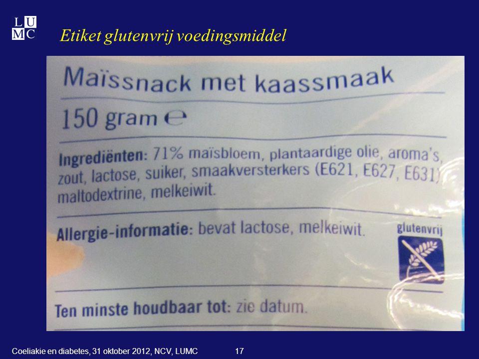 Etiket glutenvrij voedingsmiddel 17Coeliakie en diabetes, 31 oktober 2012, NCV, LUMC