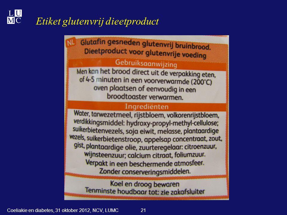 Etiket glutenvrij dieetproduct 21Coeliakie en diabetes, 31 oktober 2012, NCV, LUMC