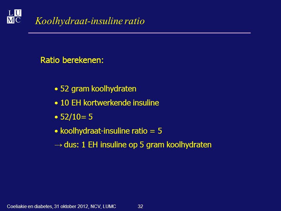 32 Koolhydraat-insuline ratio Ratio berekenen: • 52 gram koolhydraten • 10 EH kortwerkende insuline • 52/10= 5 • koolhydraat-insuline ratio = 5 → dus: