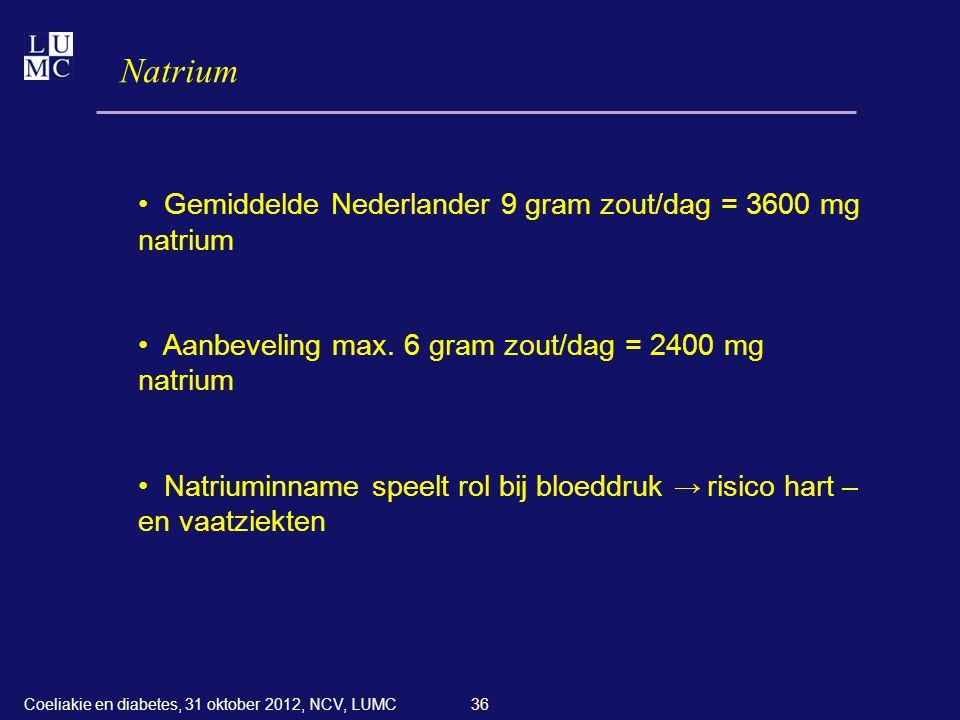 36 Natrium • Gemiddelde Nederlander 9 gram zout/dag = 3600 mg natrium • Aanbeveling max. 6 gram zout/dag = 2400 mg natrium • Natriuminname speelt rol
