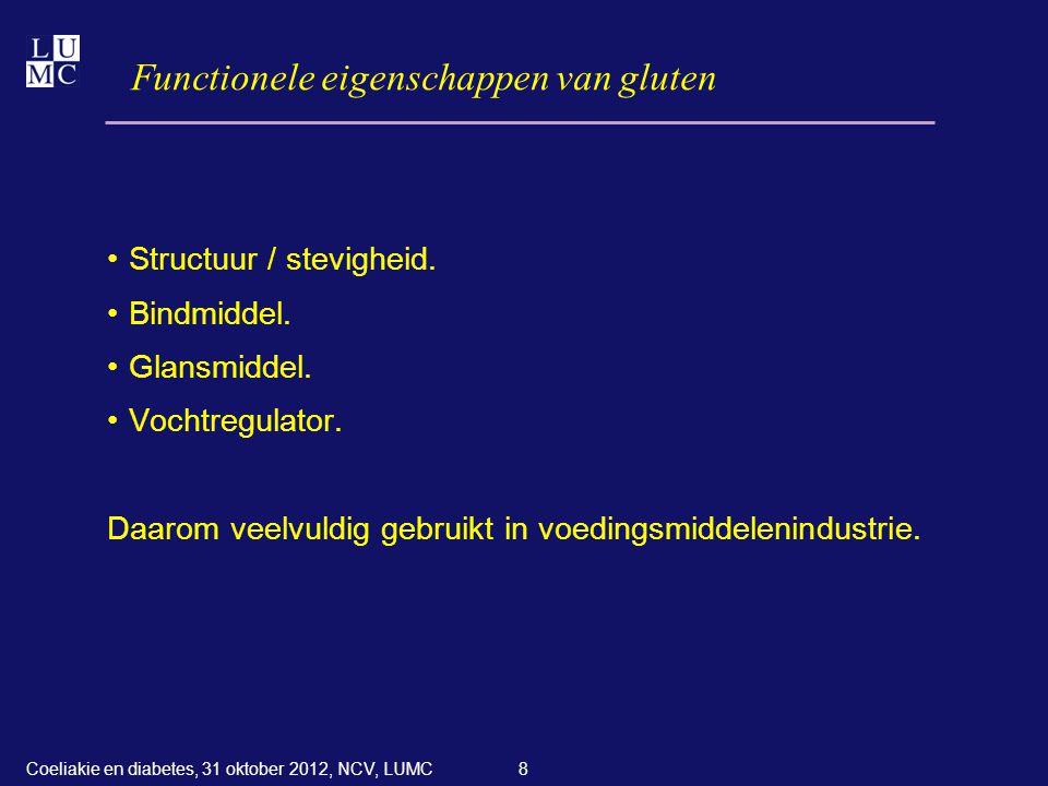8 Functionele eigenschappen van gluten •Structuur / stevigheid. •Bindmiddel. •Glansmiddel. •Vochtregulator. Daarom veelvuldig gebruikt in voedingsmidd