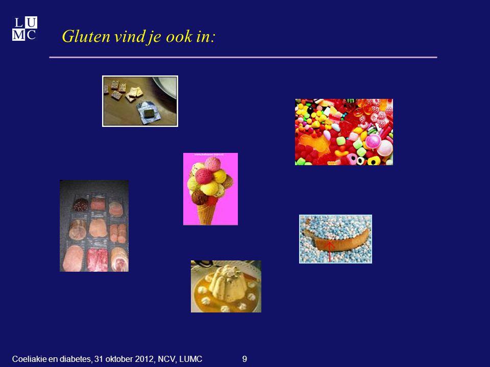 30 Koolhydraat-insuline ratio hoeveelheid koolhydraten per maaltijd ----------------------------------------------------- aantal eenheden kortwerkende insuline Coeliakie en diabetes, 31 oktober 2012, NCV, LUMC