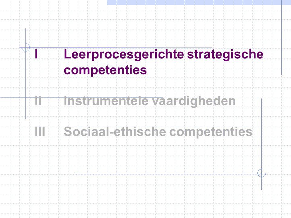 ILeerprocesgerichte strategische competenties IIInstrumentele vaardigheden IIISociaal-ethische competenties