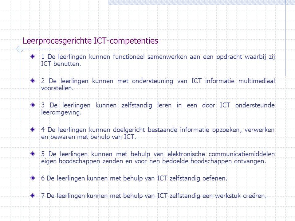 Leerprocesgerichte ICT-competenties 1 De leerlingen kunnen functioneel samenwerken aan een opdracht waarbij zij ICT benutten. 2 De leerlingen kunnen m