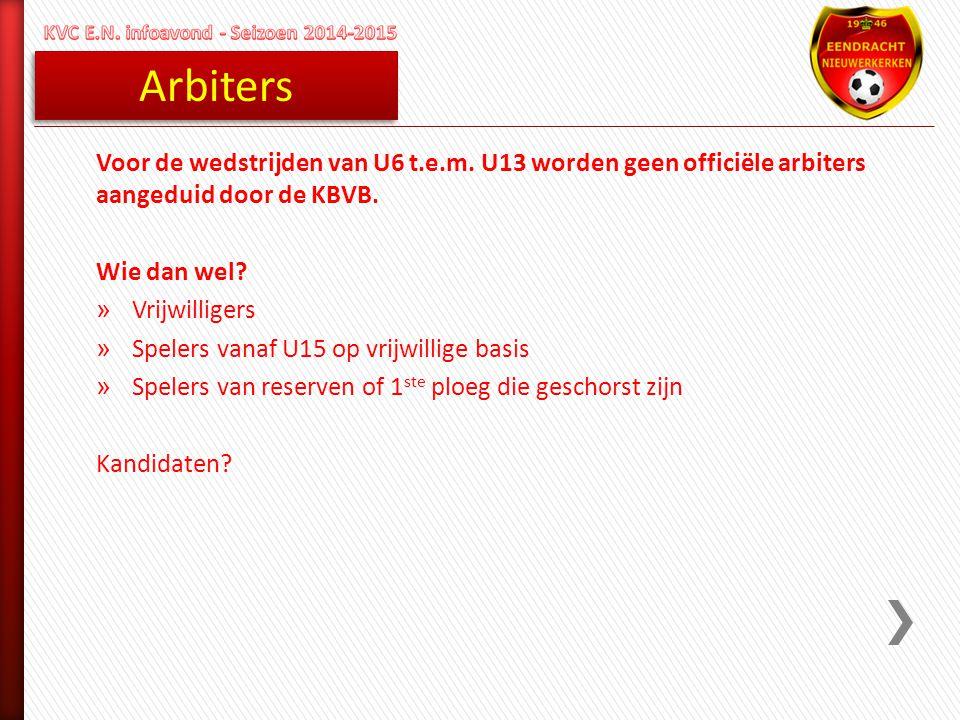 Arbiters Voor de wedstrijden van U6 t.e.m. U13 worden geen officiële arbiters aangeduid door de KBVB. Wie dan wel? » Vrijwilligers » Spelers vanaf U15