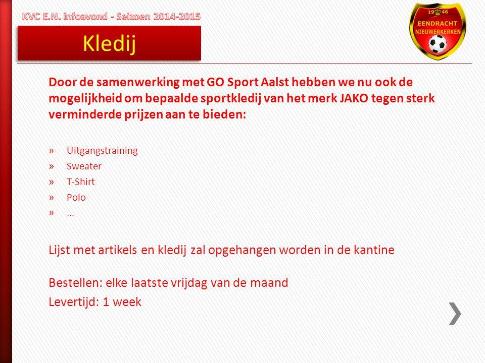 Kledij Door de samenwerking met GO Sport Aalst hebben we nu ook de mogelijkheid om bepaalde sportkledij van het merk JAKO tegen sterk verminderde prij