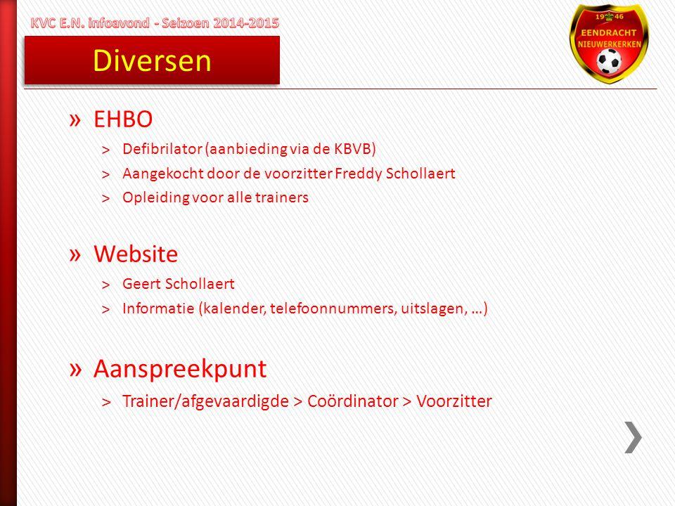 Diversen » EHBO ˃Defibrilator (aanbieding via de KBVB) ˃Aangekocht door de voorzitter Freddy Schollaert ˃Opleiding voor alle trainers » Website ˃Geert