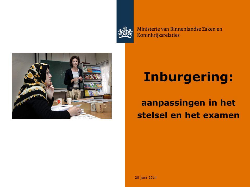 28 juni 2014 Inburgering: aanpassingen in het stelsel en het examen