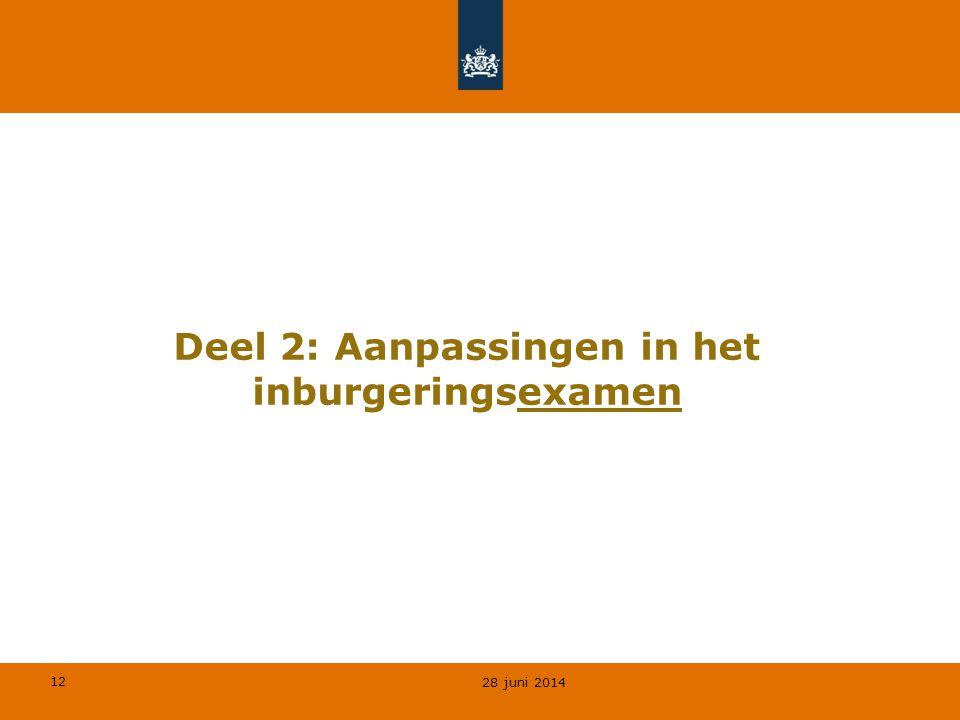12 Deel 2: Aanpassingen in het inburgeringsexamen 28 juni 2014