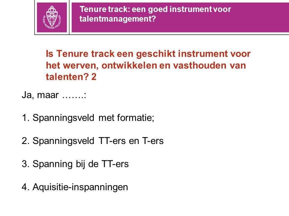 Is Tenure track een geschikt instrument voor het werven, ontwikkelen en vasthouden van talenten? 2 Ja, maar …….: 1.Spanningsveld met formatie; 2.Spann