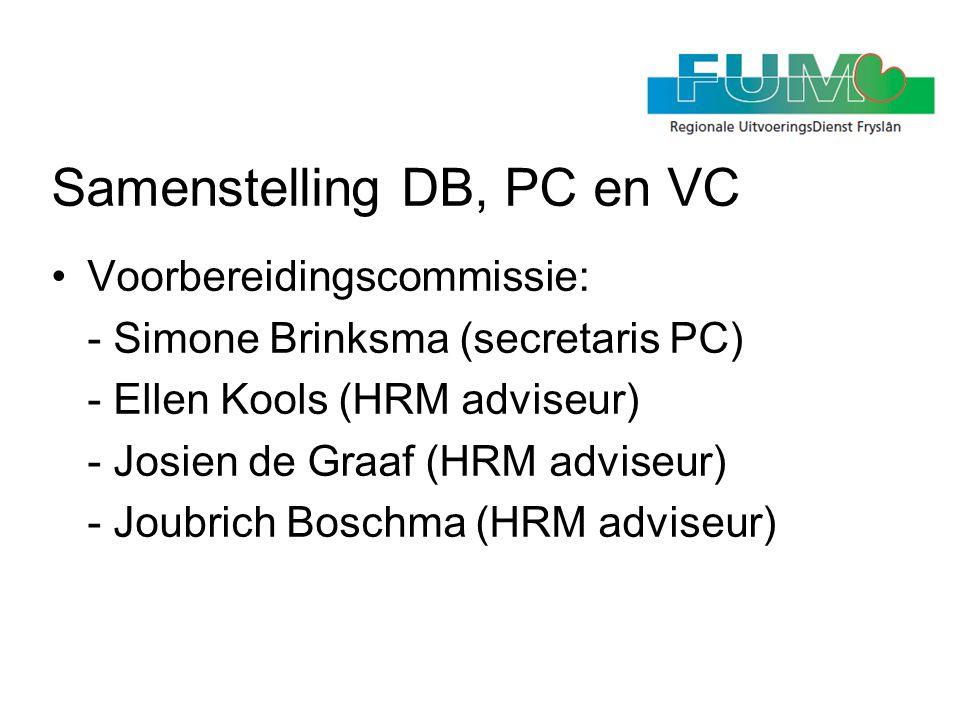Samenstelling DB, PC en VC •Voorbereidingscommissie: - Simone Brinksma (secretaris PC) - Ellen Kools (HRM adviseur) - Josien de Graaf (HRM adviseur) -