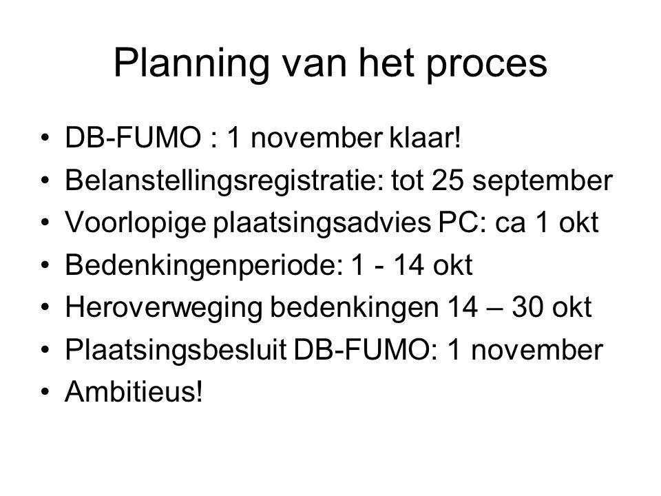Planning van het proces •DB-FUMO : 1 november klaar! •Belanstellingsregistratie: tot 25 september •Voorlopige plaatsingsadvies PC: ca 1 okt •Bedenking