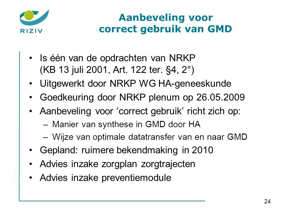 24 Aanbeveling voor correct gebruik van GMD •Is één van de opdrachten van NRKP (KB 13 juli 2001, Art. 122 ter. §4, 2°) •Uitgewerkt door NRKP WG HA-gen