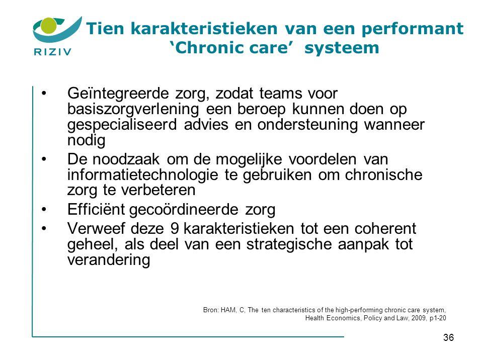36 Tien karakteristieken van een performant 'Chronic care' systeem •Geïntegreerde zorg, zodat teams voor basiszorgverlening een beroep kunnen doen op