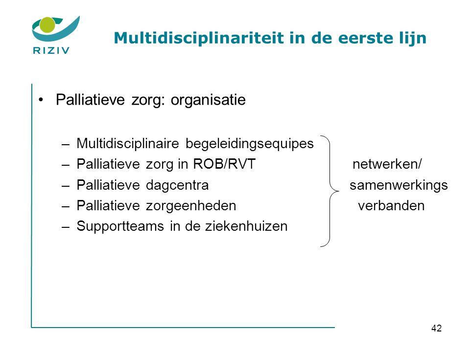 42 Multidisciplinariteit in de eerste lijn •Palliatieve zorg: organisatie –Multidisciplinaire begeleidingsequipes –Palliatieve zorg in ROB/RVT netwerken/ –Palliatieve dagcentra samenwerkings –Palliatieve zorgeenheden verbanden –Supportteams in de ziekenhuizen