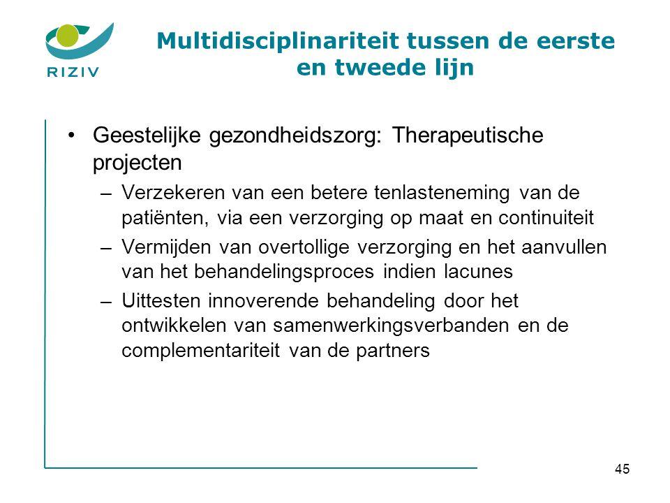 45 Multidisciplinariteit tussen de eerste en tweede lijn •Geestelijke gezondheidszorg: Therapeutische projecten –Verzekeren van een betere tenlastenem