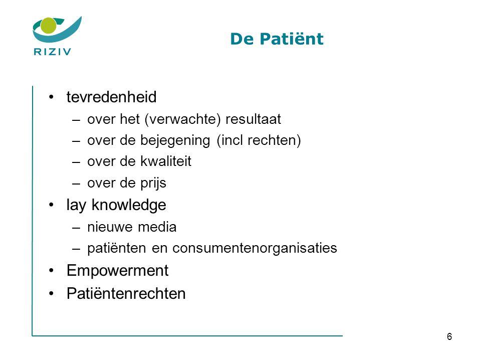 6 De Patiënt •tevredenheid –over het (verwachte) resultaat –over de bejegening (incl rechten) –over de kwaliteit –over de prijs •lay knowledge –nieuwe
