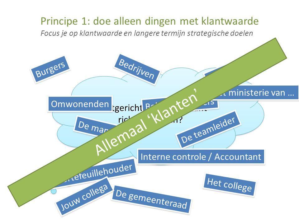 Focus je op klantwaarde en langere termijn strategische doelen Principe 1: doe alleen dingen met klantwaarde Klantgericht.