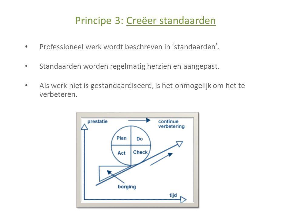 Principe 3: Creëer standaarden • Professioneel werk wordt beschreven in 'standaarden'.