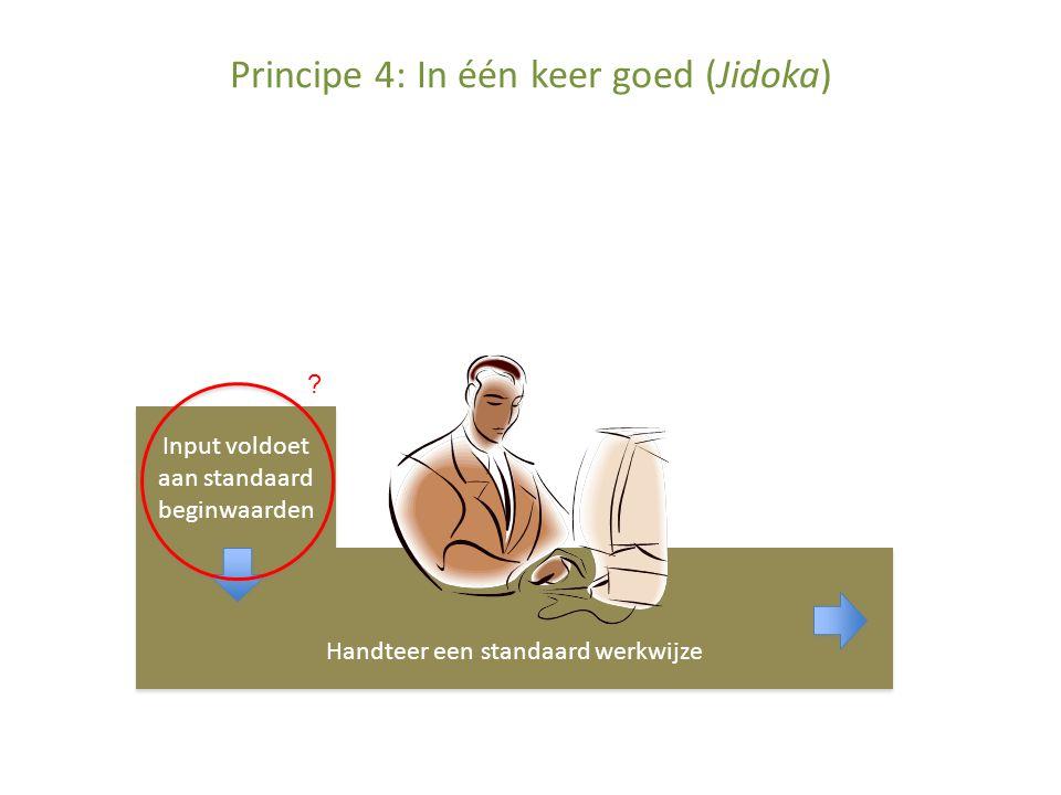 Principe 4: In één keer goed (Jidoka) Input voldoet aan standaard beginwaarden Handteer een standaard werkwijze ?