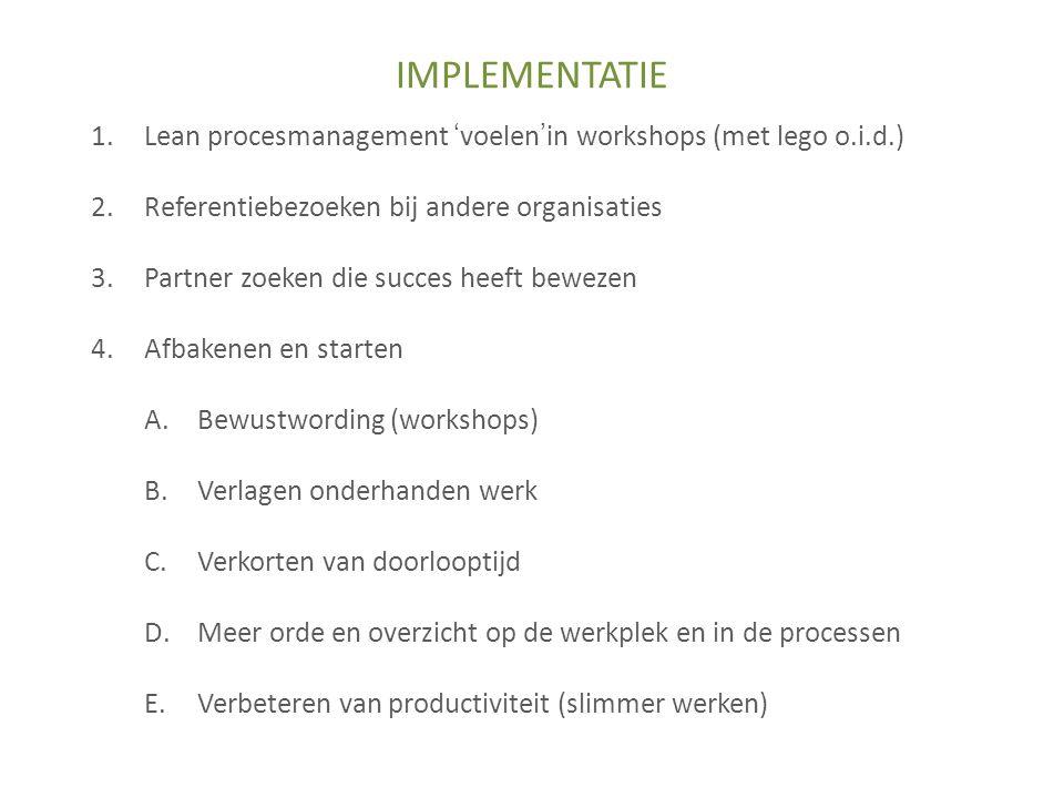 1.Lean procesmanagement 'voelen'in workshops (met lego o.i.d.) 2.Referentiebezoeken bij andere organisaties 3.Partner zoeken die succes heeft bewezen 4.Afbakenen en starten A.Bewustwording (workshops) B.Verlagen onderhanden werk C.Verkorten van doorlooptijd D.Meer orde en overzicht op de werkplek en in de processen E.Verbeteren van productiviteit (slimmer werken) IMPLEMENTATIE