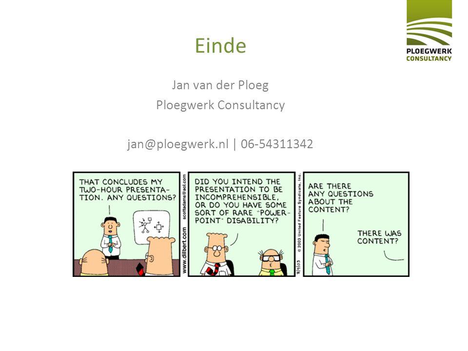 Einde Jan van der Ploeg Ploegwerk Consultancy jan@ploegwerk.nl | 06-54311342