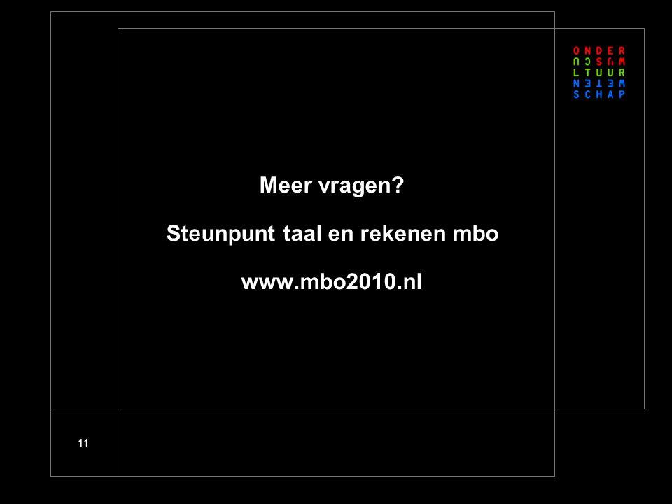 11 Meer vragen Steunpunt taal en rekenen mbo www.mbo2010.nl