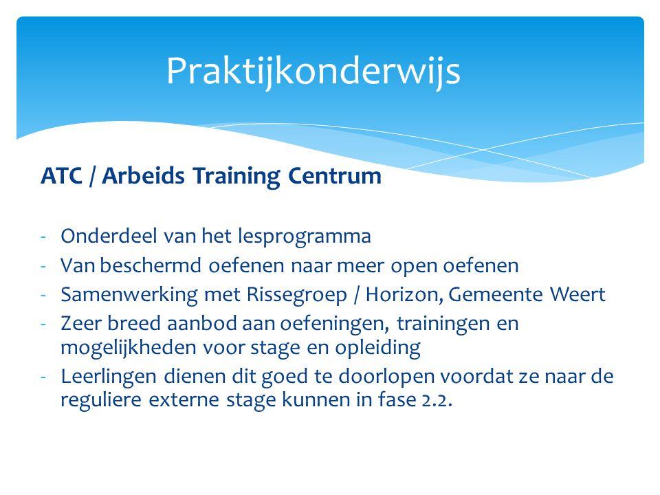 ATC / Arbeids Training Centrum -Onderdeel van het lesprogramma -Van beschermd oefenen naar meer open oefenen -Samenwerking met Rissegroep / Horizon, G