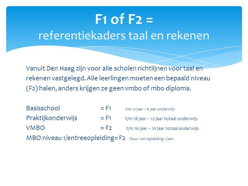 Vanuit Den Haag zijn voor alle scholen richtlijnen voor taal en rekenen vastgelegd. Alle leerlingen moeten een bepaald niveau (F2) halen, anders krijg