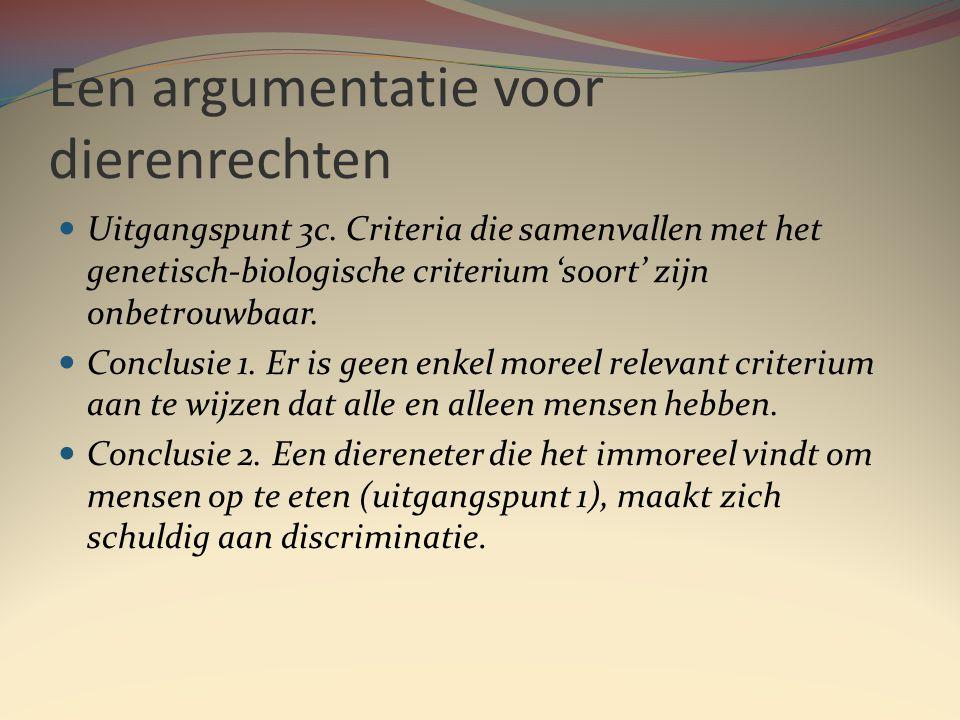 Een argumentatie voor dierenrechten  Uitgangspunt 3c.