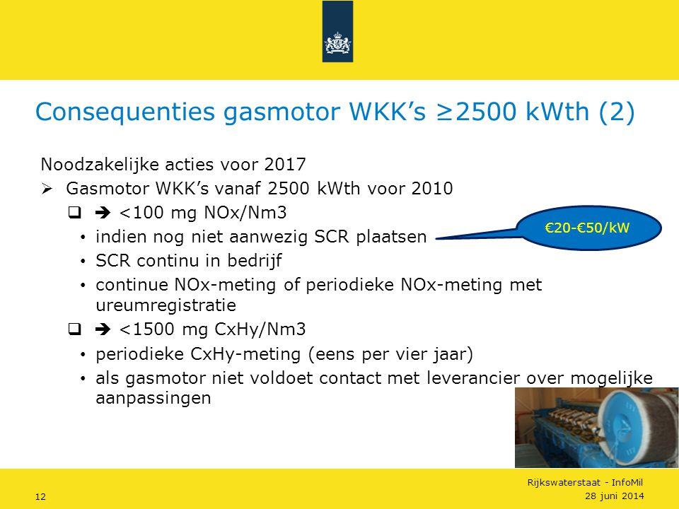 Rijkswaterstaat - InfoMil 12 Noodzakelijke acties voor 2017  Gasmotor WKK's vanaf 2500 kWth voor 2010  <100 mg NOx/Nm3 • indien nog niet aanwezig S