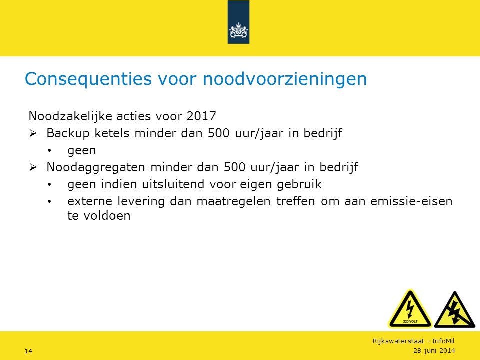 Rijkswaterstaat - InfoMil 14 Noodzakelijke acties voor 2017  Backup ketels minder dan 500 uur/jaar in bedrijf • geen  Noodaggregaten minder dan 500