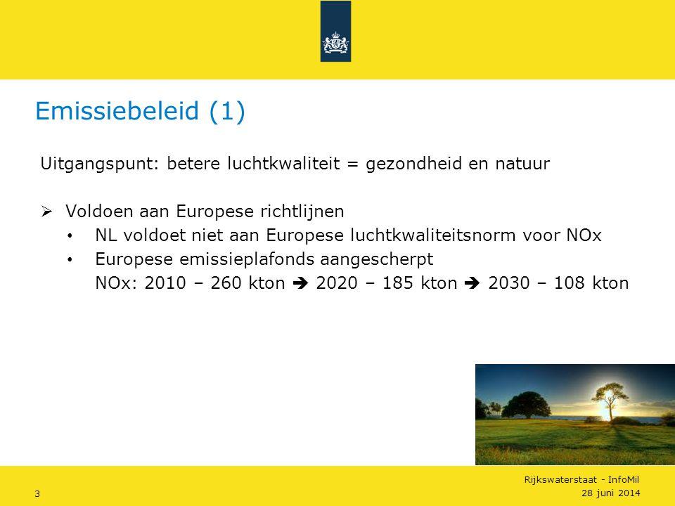 Rijkswaterstaat - InfoMil 4  Aanpak – voldoen aan Europese richtlijnen (1) • Verkeer • Euro IV – Euro V – Euro VI • Grote stookinstallaties • Vergunning op basis van Beste Beschikbare Technieken Emissiebeleid (2) 28 juni 2014