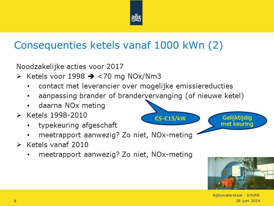 Rijkswaterstaat - InfoMil 8 Noodzakelijke acties voor 2017  Ketels voor 1998  <70 mg NOx/Nm3 • contact met leverancier over mogelijke emissiereducti