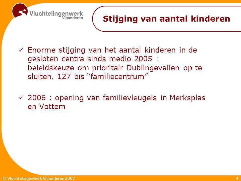 4© Vluchtelingenwerk Vlaanderen 2007 Stijging van aantal kinderen  Enorme stijging van het aantal kinderen in de gesloten centra sinds medio 2005 : beleidskeuze om prioritair Dublingevallen op te sluiten.