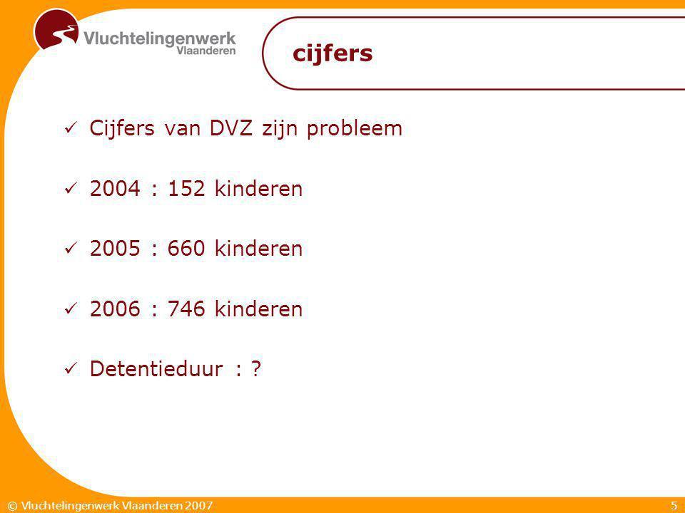 5© Vluchtelingenwerk Vlaanderen 2007 cijfers  Cijfers van DVZ zijn probleem  2004 : 152 kinderen  2005 : 660 kinderen  2006 : 746 kinderen  Detentieduur :
