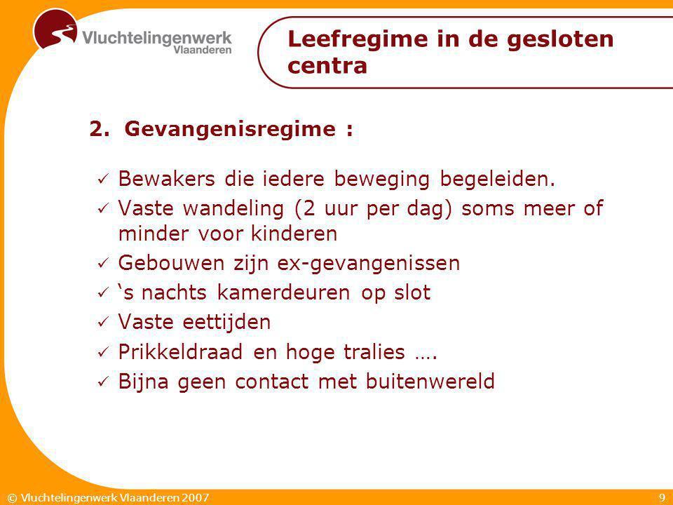 9© Vluchtelingenwerk Vlaanderen 2007 Leefregime in de gesloten centra 2.