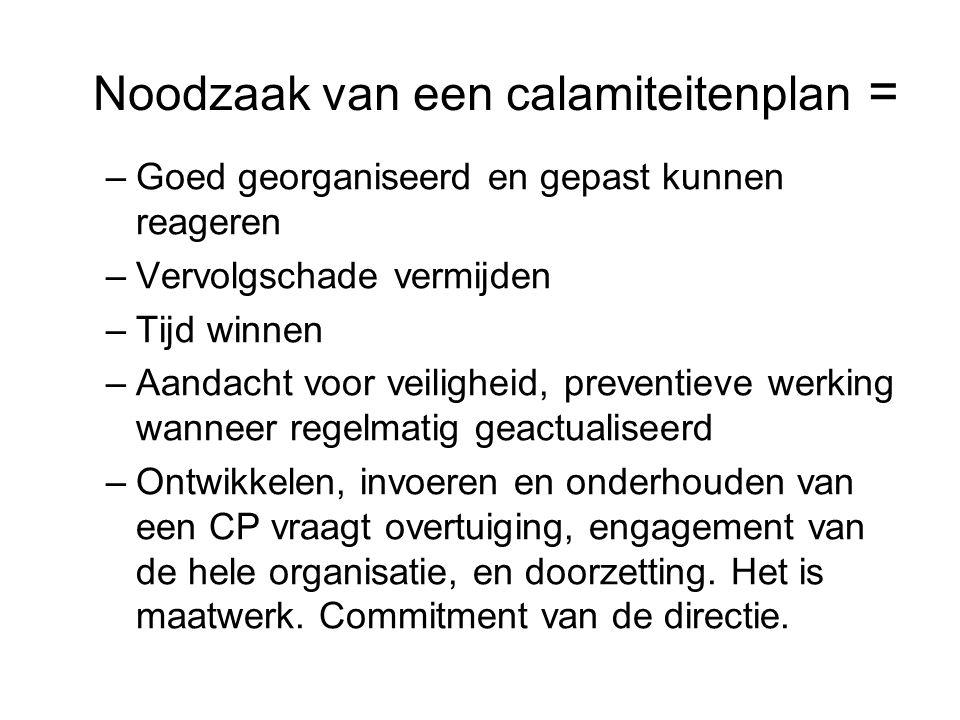 Noodzaak van een calamiteitenplan = –Goed georganiseerd en gepast kunnen reageren –Vervolgschade vermijden –Tijd winnen –Aandacht voor veiligheid, pre