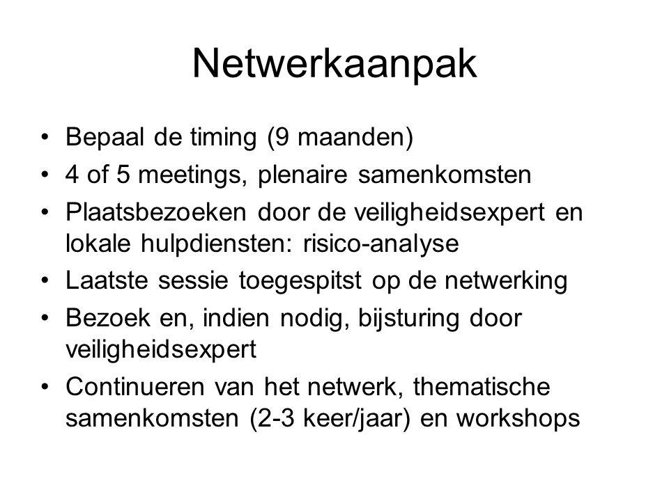 Netwerkaanpak •Bepaal de timing (9 maanden) •4 of 5 meetings, plenaire samenkomsten •Plaatsbezoeken door de veiligheidsexpert en lokale hulpdiensten: