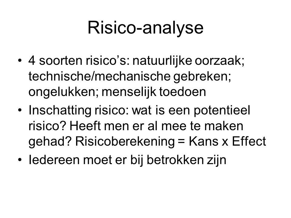 Risico-analyse •4 soorten risico's: natuurlijke oorzaak; technische/mechanische gebreken; ongelukken; menselijk toedoen •Inschatting risico: wat is ee