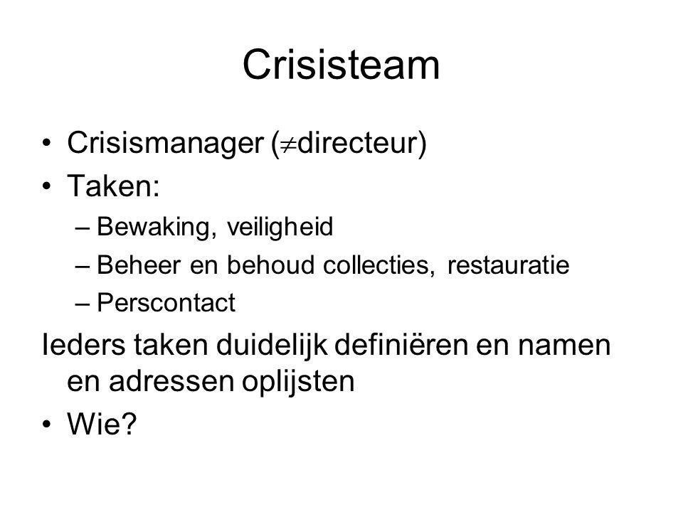 Crisisteam •Crisismanager (  directeur) •Taken: –Bewaking, veiligheid –Beheer en behoud collecties, restauratie –Perscontact Ieders taken duidelijk d