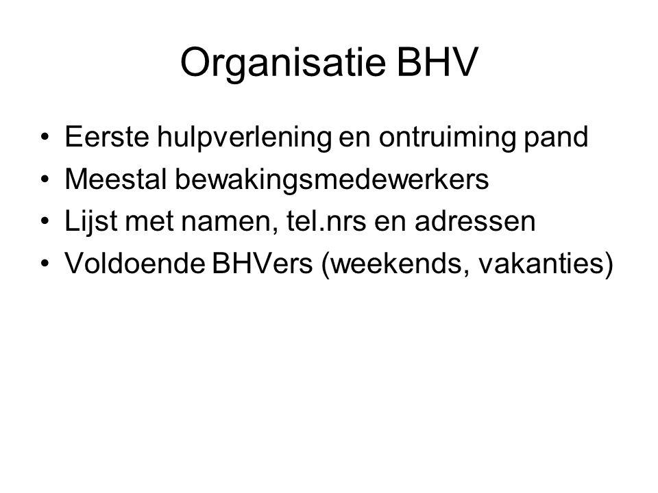 Organisatie BHV •Eerste hulpverlening en ontruiming pand •Meestal bewakingsmedewerkers •Lijst met namen, tel.nrs en adressen •Voldoende BHVers (weeken