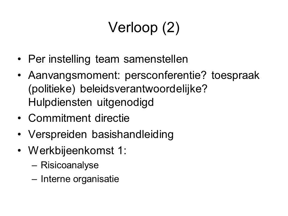 Verloop (2) •Per instelling team samenstellen •Aanvangsmoment: persconferentie? toespraak (politieke) beleidsverantwoordelijke? Hulpdiensten uitgenodi