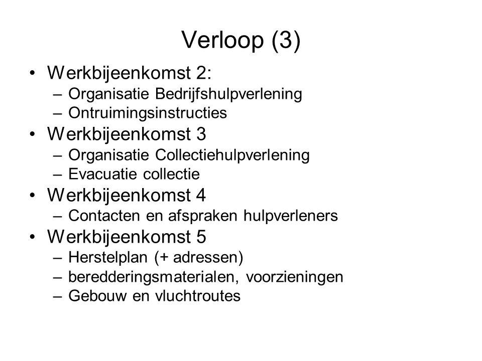Verloop (3) •Werkbijeenkomst 2: –Organisatie Bedrijfshulpverlening –Ontruimingsinstructies •Werkbijeenkomst 3 –Organisatie Collectiehulpverlening –Eva