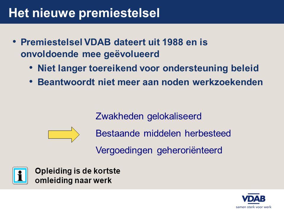 Het nieuwe premiestelsel • Premiestelsel VDAB dateert uit 1988 en is onvoldoende mee geëvolueerd • Niet langer toereikend voor ondersteuning beleid •