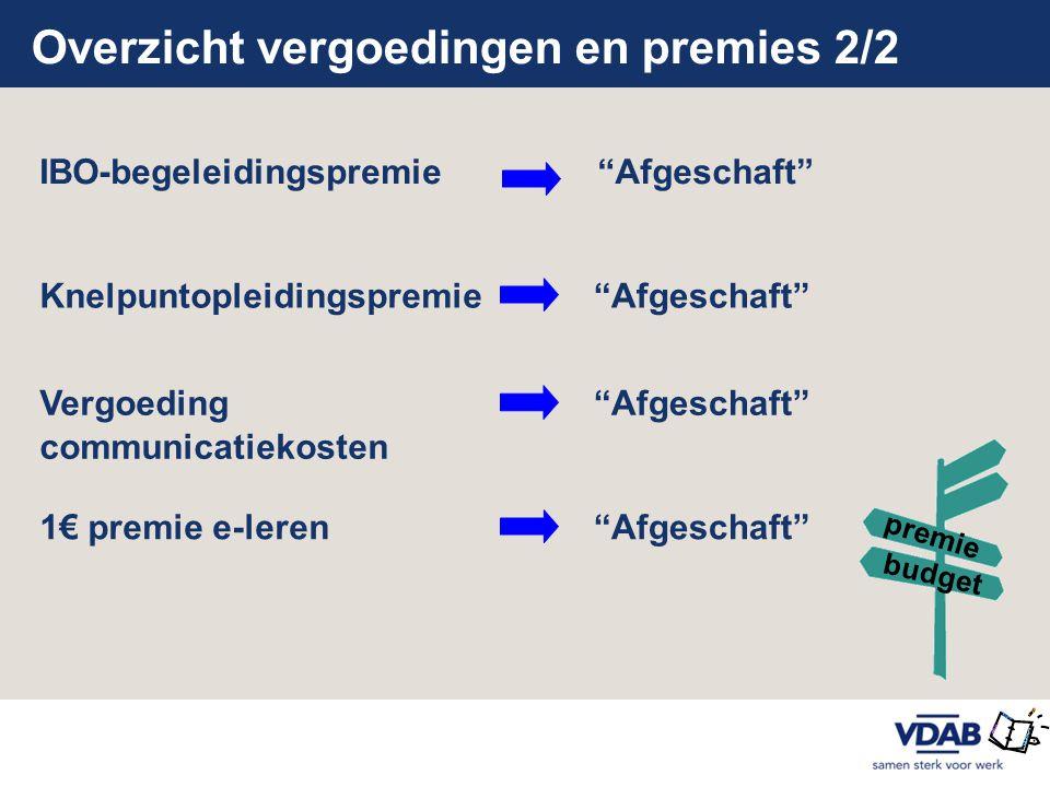"""Overzicht vergoedingen en premies 2/2 IBO-begeleidingspremie""""Afgeschaft"""" Knelpuntopleidingspremie """"Afgeschaft""""Vergoeding communicatiekosten """"Afgeschaf"""