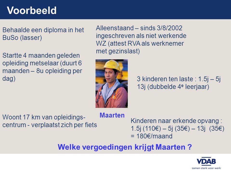 Voorbeeld 3 kinderen ten laste : 1.5j – 5j 13j (dubbelde 4 e leerjaar) Woont 17 km van opleidings- centrum - verplaatst zich per fiets Startte 4 maand