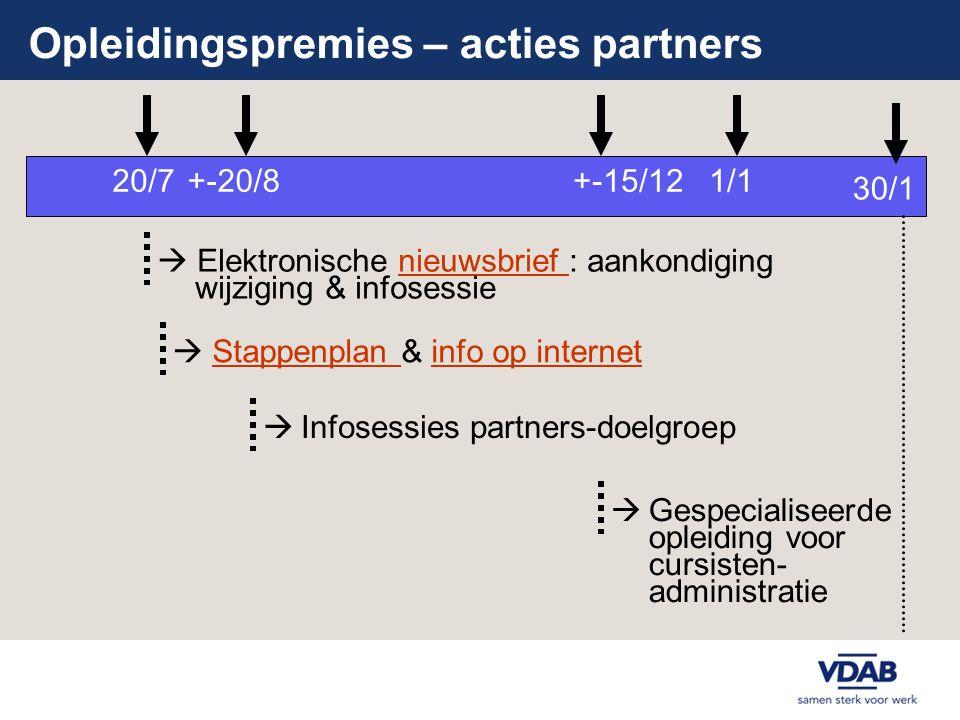 Opleidingspremies – acties partners +-20/81/1  Elektronische nieuwsbrief : aankondiging wijziging & infosessienieuwsbrief  Infosessies partners-doel