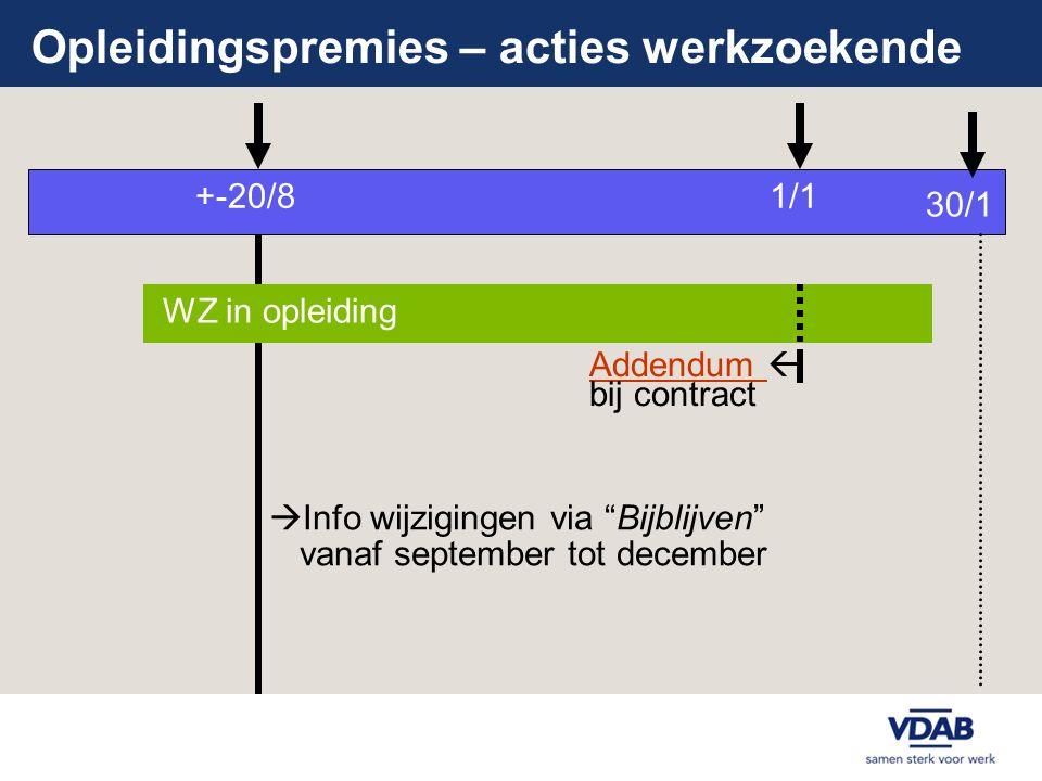 """Opleidingspremies – acties werkzoekende +-20/8 WZ in opleiding Addendum Addendum  bij contract 1/1  Info wijzigingen via """"Bijblijven"""" vanaf septembe"""